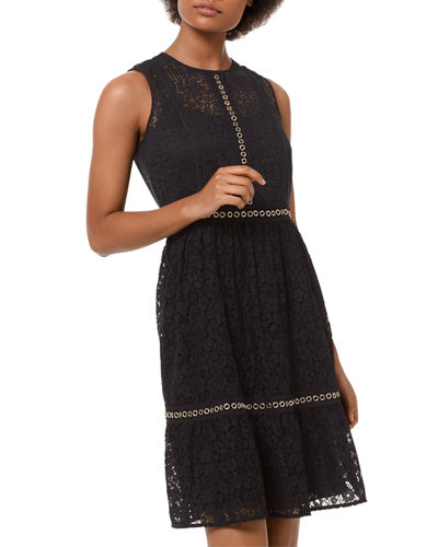 Mini Mod Floral Lace Sleeveless Dress