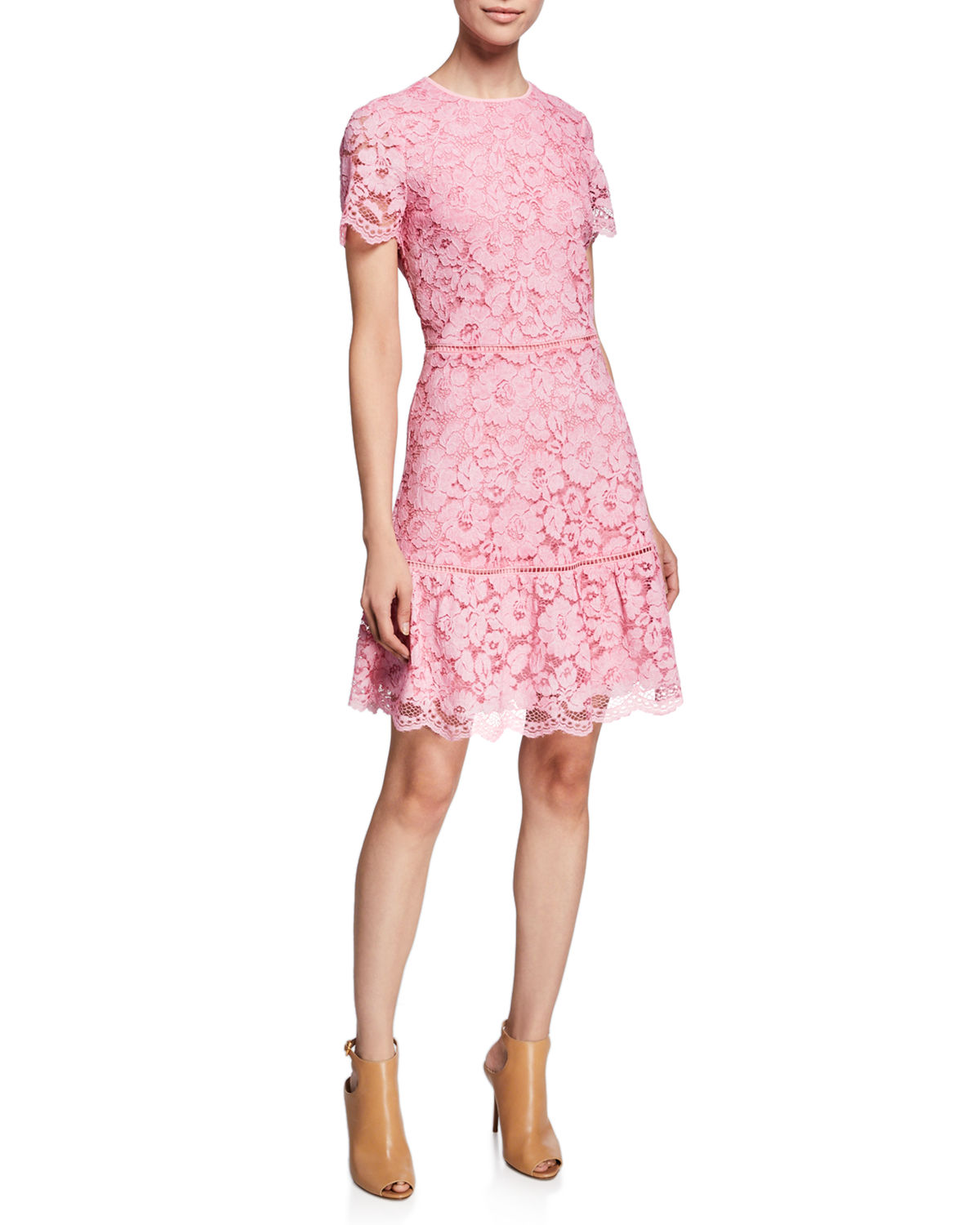 5d44abd9c10 MICHAEL Michael Kors Floral-Lace Crewneck Short-Sleeve Fit-and-Flare Dress