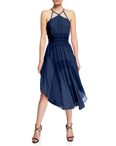 Ramy Brook Amara Halter Two-Tone A-Line Dress w/ Cutouts