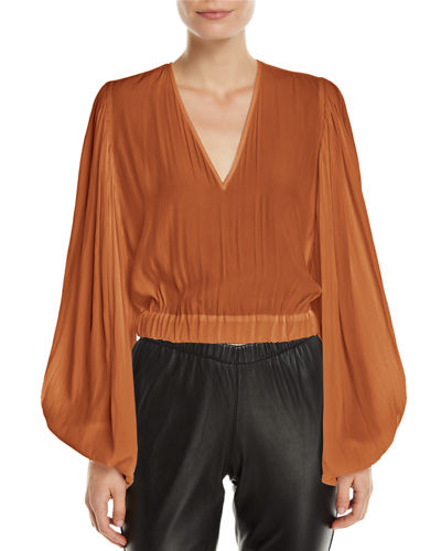 Ramy Brook Ryann Cropped Blouson-Sleeve V-Neck Top