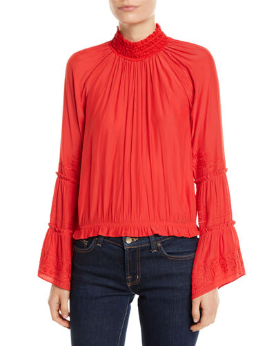 Skye Embroidered High-Neck Top