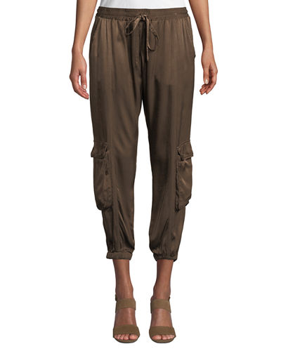 Cropped Satin Cargo Pants