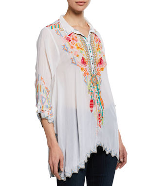 6a1ddc5cfaa Johnny Was Plus Size Festival Long-Sleeve Embroidered Georgette Tunic