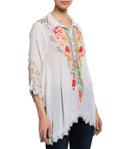 Plus Size Festival Long-Sleeve Embroidered Georgette Tunic
