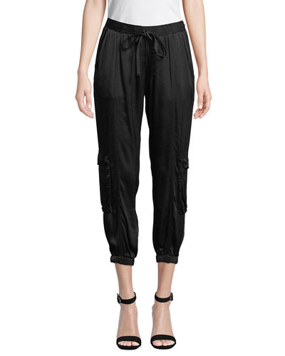 Petite Cropped Satin Cargo Pants