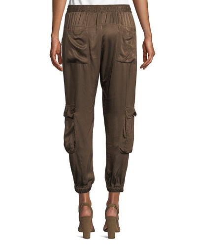 Johnny Was Plus Size Cropped Satin Cargo Pants