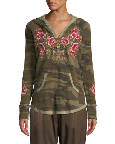Plus Size Axton Thermal Pullover Hoodie with Embroidery