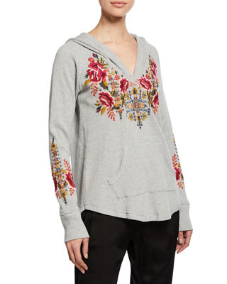 JOHNNY WAS Axton Thermal Pullover Hoodie With Embroidery, Plus Size in Heather Grey