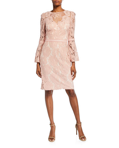High-Neck Bell-Sleeve Lace Cocktail Dress