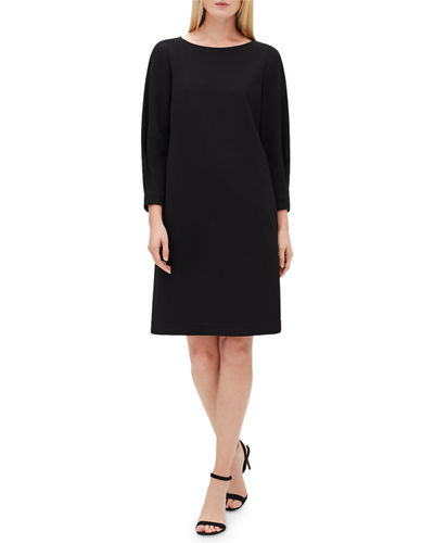 Caddie 3/4-Sleeve Back-Zip Dress