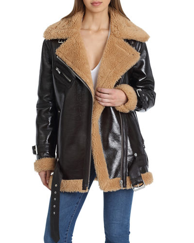 Faux Leather Sherpa-Trim Biker Jacket