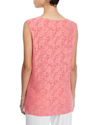 Caroline Rose Plus Size Rose Garden Scoop-Neck Longer Tank