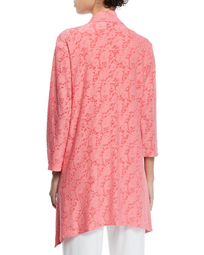 Caroline Rose Plus Size Rose Garden 3/4-Sleeve Side-Fall Cardigan