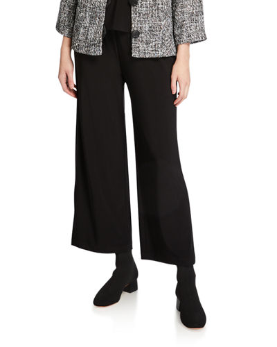 Caroline Rose Plus Size Crepe Suzette Wide-Leg Pull-On Pants
