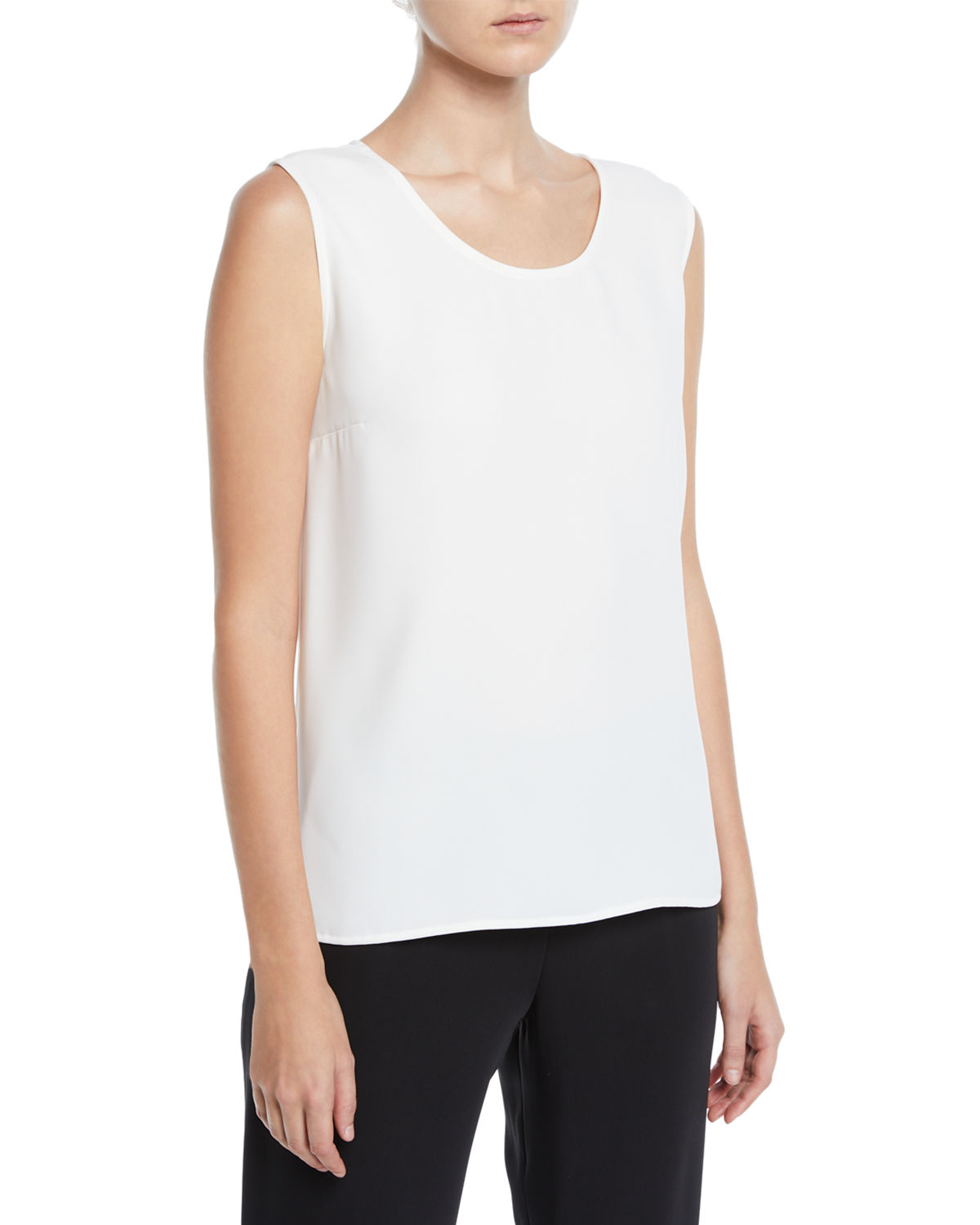 Caroline Rose Plus Size Crepe Suzette Longer Tank with Side Slits