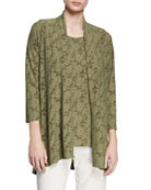 Caroline Rose Rose Garden 3/4-Sleeve Side-Fall Cardigan and