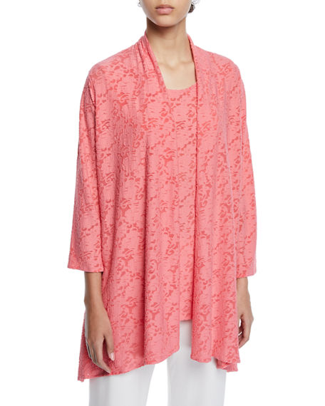 Caroline Rose Rose Garden 3/4-Sleeve Side-Fall Cardigan