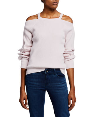 Mackenzie Cold-Shoulder Cashmere Sweater in Faded Clear Pink