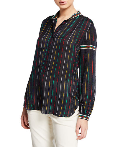 181a810434004 Quick Look. Rag   Bone · Austin Striped Button-Front Silk Top. Available in  Black