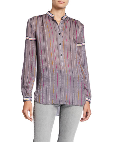 69e42fa42df1c Quick Look. Rag   Bone · Austin Striped Button-Front Silk Top. Available in  Pattern