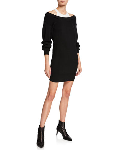 Ribbed Off-Shoulder Mini Sweater Dress with Tank