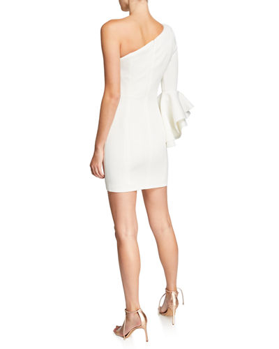 One-Shoulder Flounce-Sleeve Fitted Scuba Dress