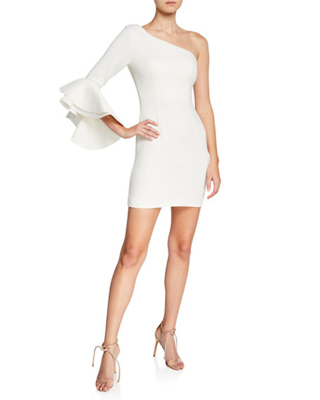 Jovani ONE-SHOULDER FLOUNCE-SLEEVE FITTED SCUBA DRESS