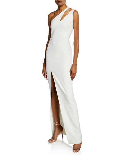 Roxy One-Shoulder Body-Con Gown w/ Front Slit