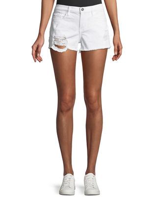 ETIENNE MARCEL Distressed Denim Shorts in White