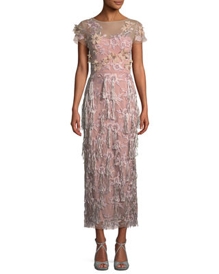 DAVID MEISTER Cap-Sleeve 3-D Floral & Tassels Embroidered Long Formal Dress in Lilac