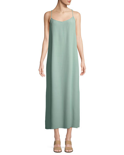 Long Solid Crepe Slip Dress