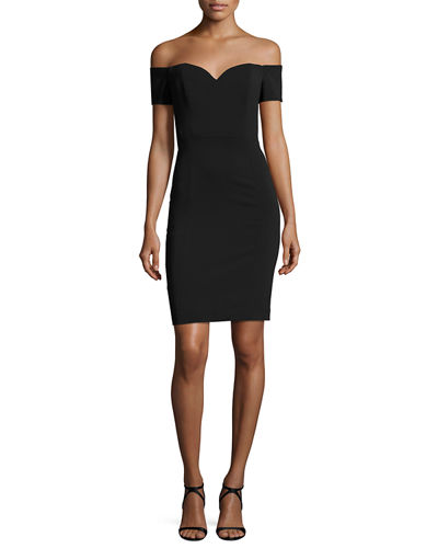 Off-the-Shoulder Crepe Cocktail Sheath Dress