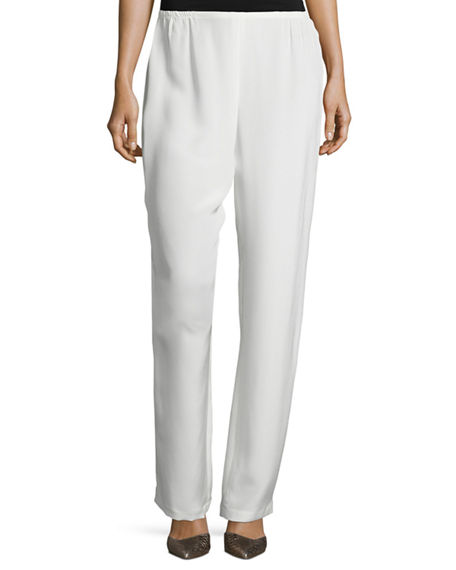 Image 1 of 2: Caroline Rose Silk Crepe Straight-Leg Pants