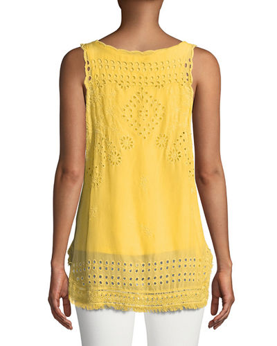 Eyelet Embroidered Fringe-Trim Tank