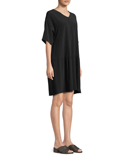 Viscose-Crepe Drop-Waist Dress