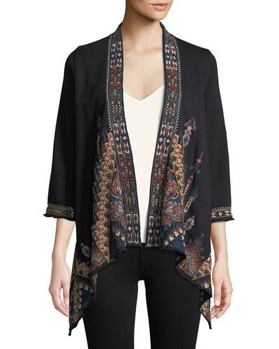 Nala Embroidered Knit Draped Cardigan