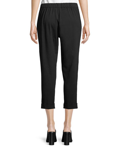 Slim Organic Cotton Jersey Cropped Pants, Plus Size