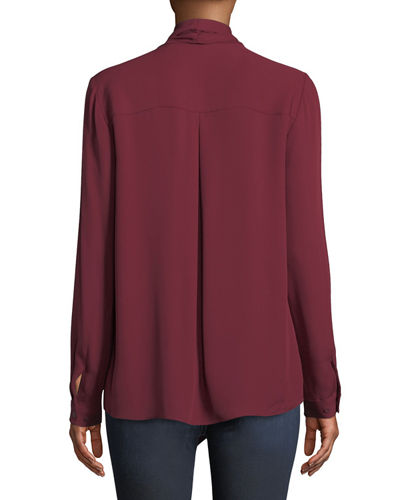 Elie Tahari Jurnee Draped Silk Blouse