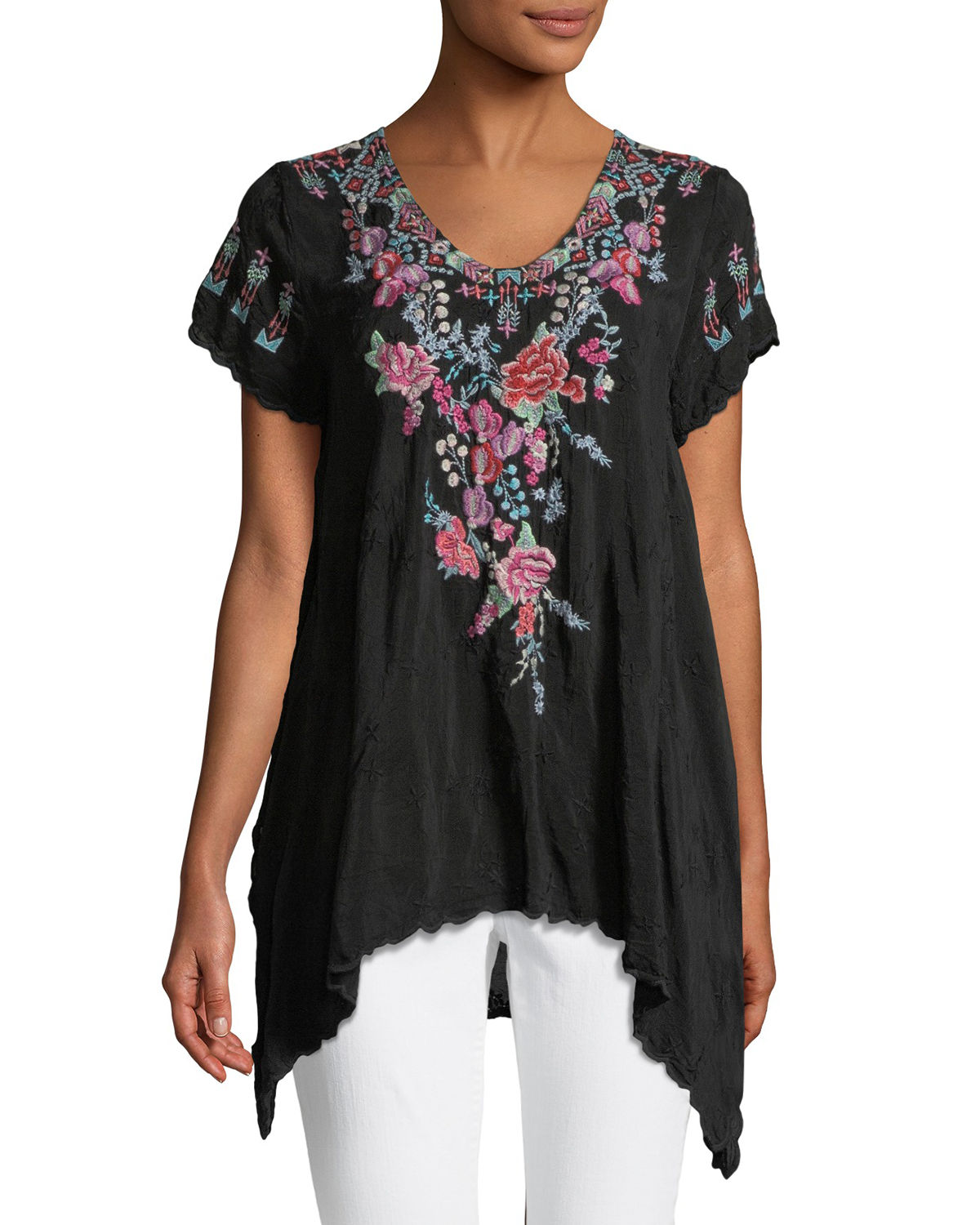 Johnny Was Tops HINGA GEORGETTE EMBROIDERED TUNIC