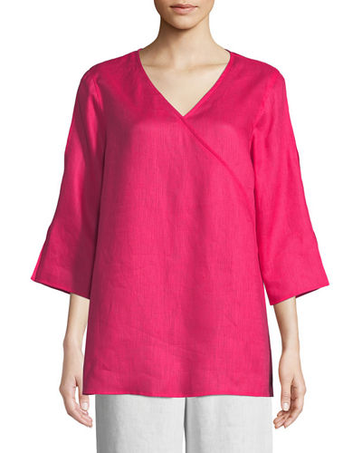 Petite Tissue Linen V-Neck Havana Top