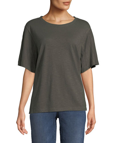Short-Sleeve Hemp-Cotton Twist Top, Petite