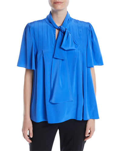 Silk Neck-Tie Short-Sleeve Blouse