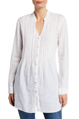 120% Lino Band-Collar Pintucked Button-Front Long-Sleeve Linen Blouse