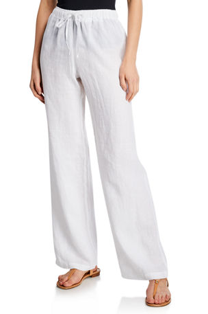 120% Lino Drawstring-Waist Wide-Leg Linen Beach Pants