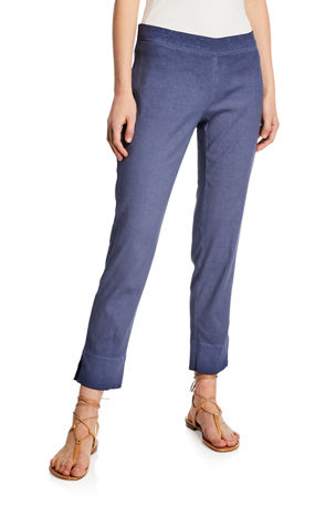 120% Lino Linen Cotton Side-Zip Capri Pants