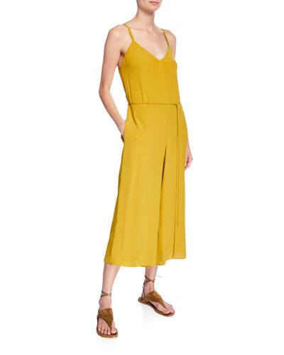 Crepe V-Neck Cropped Cami Jumpsuit