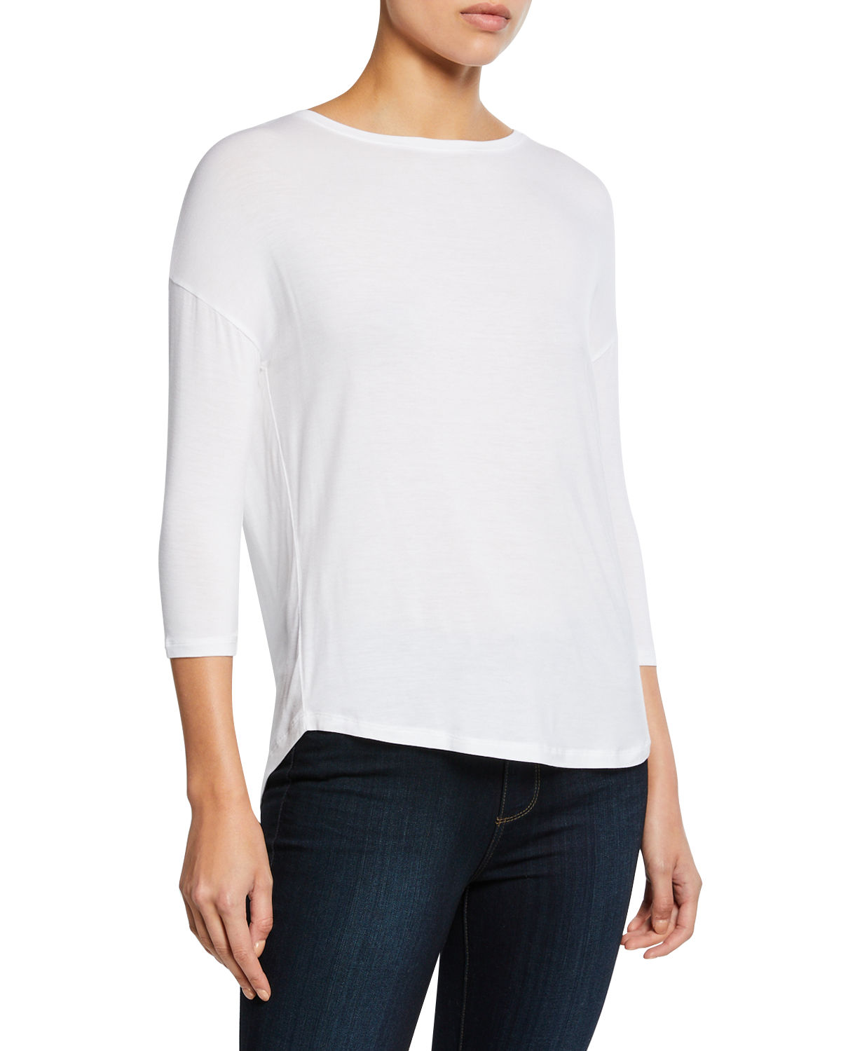 Majestic Soft Touch Easy Boat-Neck 3/4-Sleeve Tee