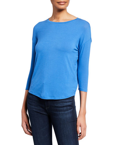Soft Touch Easy Boat-Neck 3/4-Sleeve Tee