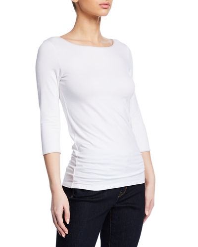 Boat-Neck 3/4-Sleeve Fitted Tee with Metallic Trim