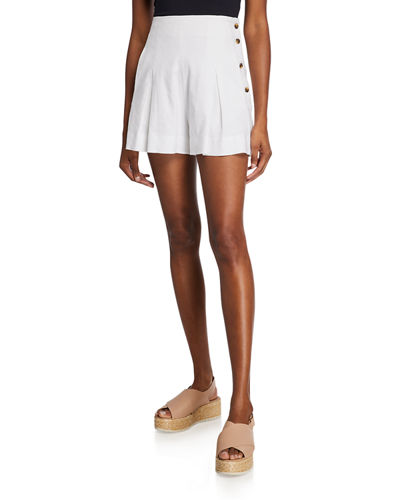 High-Rise Pleat-Front Shorts